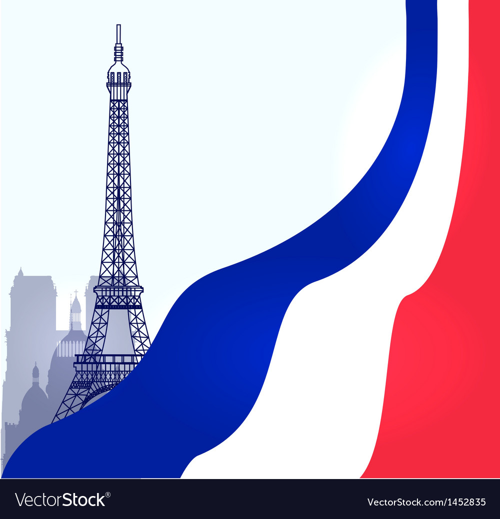 Paris with french flag vector | Price: 1 Credit (USD $1)
