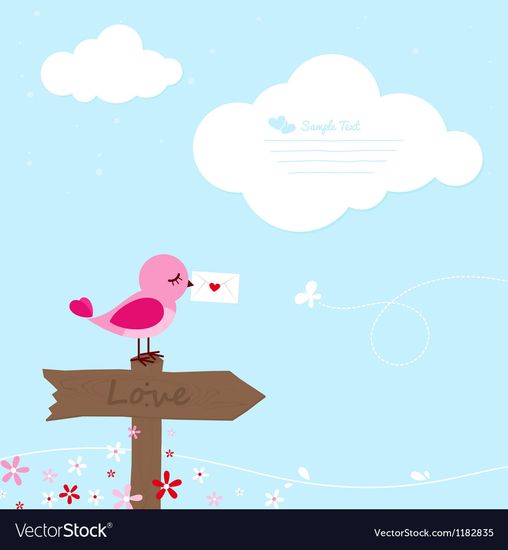 Pink bird with love letter vector | Price: 1 Credit (USD $1)