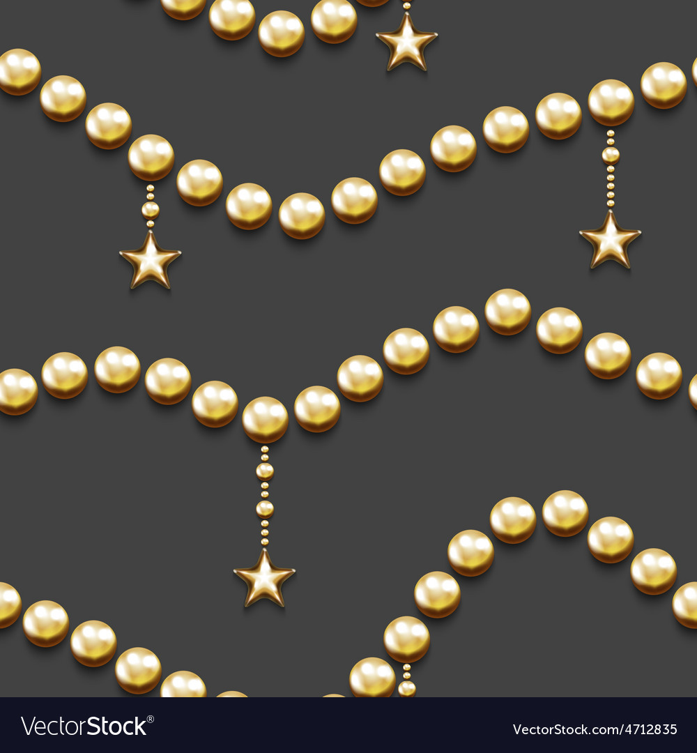 Seamless pattern with golden beads and stars vector | Price: 1 Credit (USD $1)