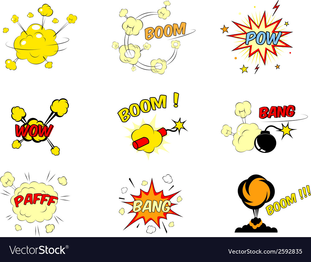 Set of comic cartoon text explosions vector | Price: 1 Credit (USD $1)
