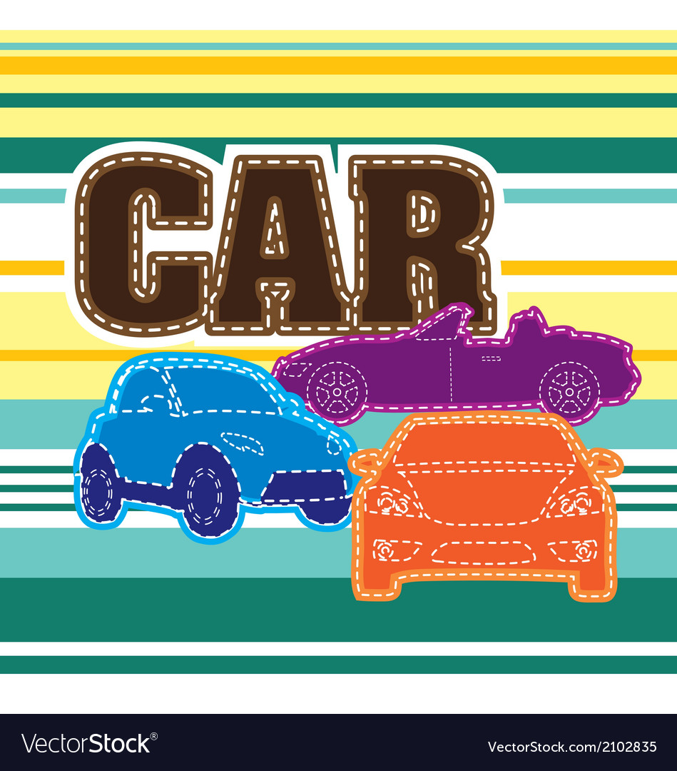 Stripes background different cars embroidery vector | Price: 1 Credit (USD $1)