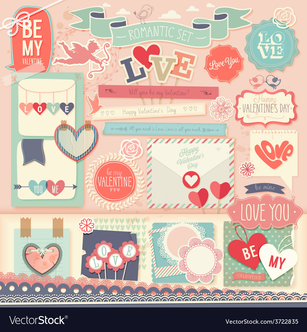 Valentines day scrapbook set vector | Price: 1 Credit (USD $1)