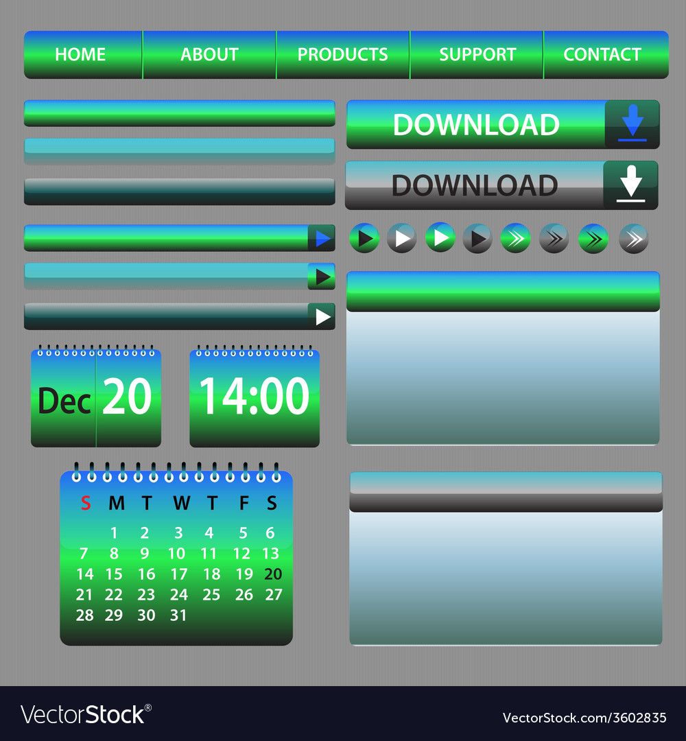 Web elements design blue and green vector | Price: 1 Credit (USD $1)