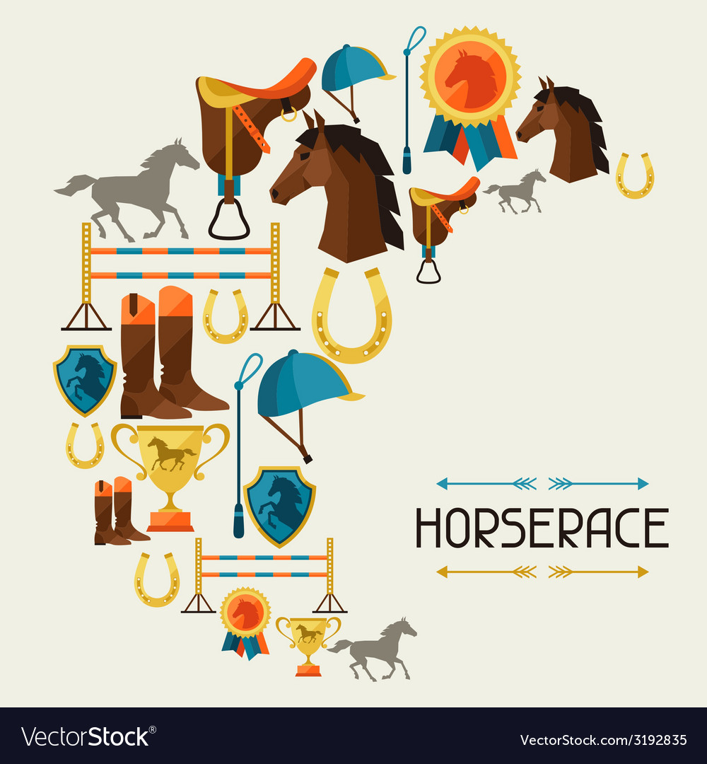 With horse equipment in flat style vector | Price: 1 Credit (USD $1)