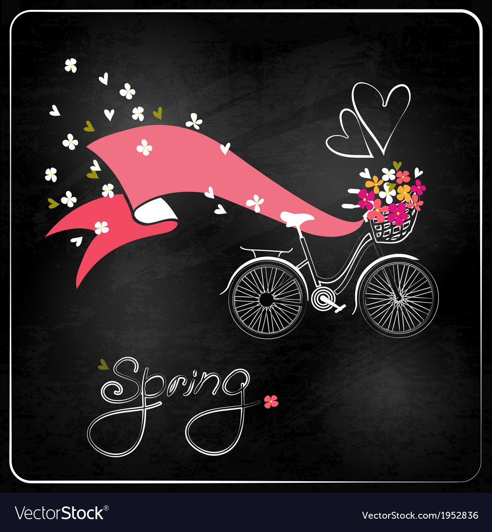 Bicycle with a basket full of flowers vector   Price: 1 Credit (USD $1)