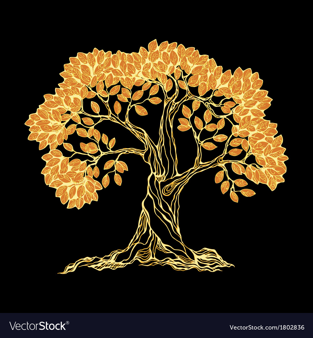 Golden tree on black vector | Price: 1 Credit (USD $1)