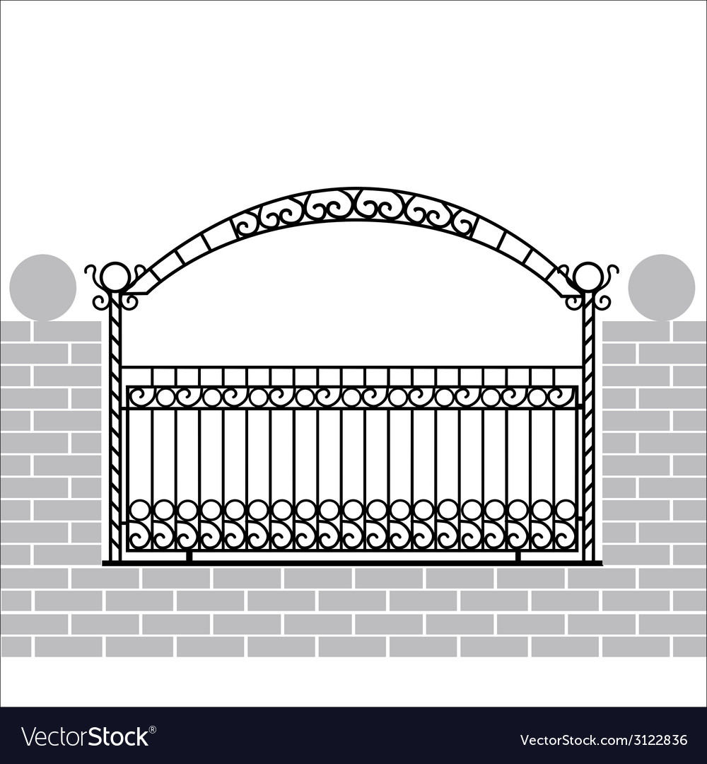 Iron fence with bow vector | Price: 1 Credit (USD $1)