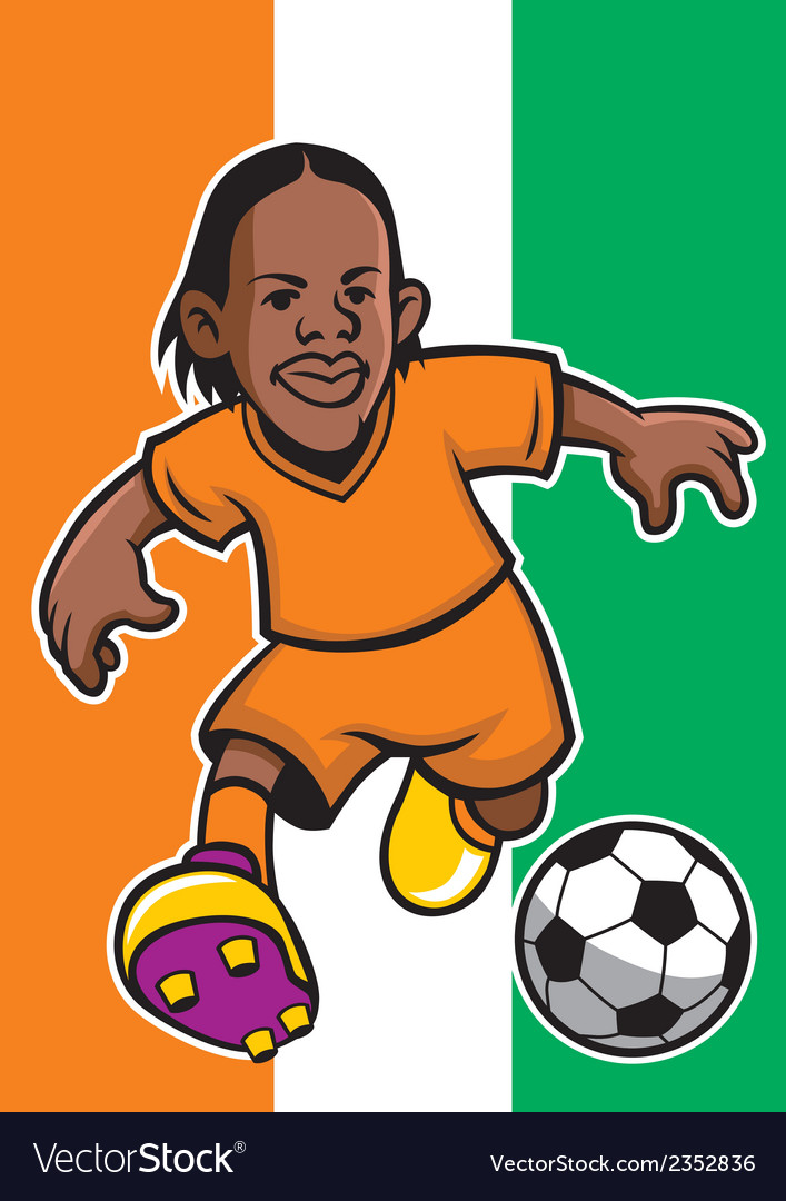 Ivory coast soccer player with flag background vector | Price: 1 Credit (USD $1)
