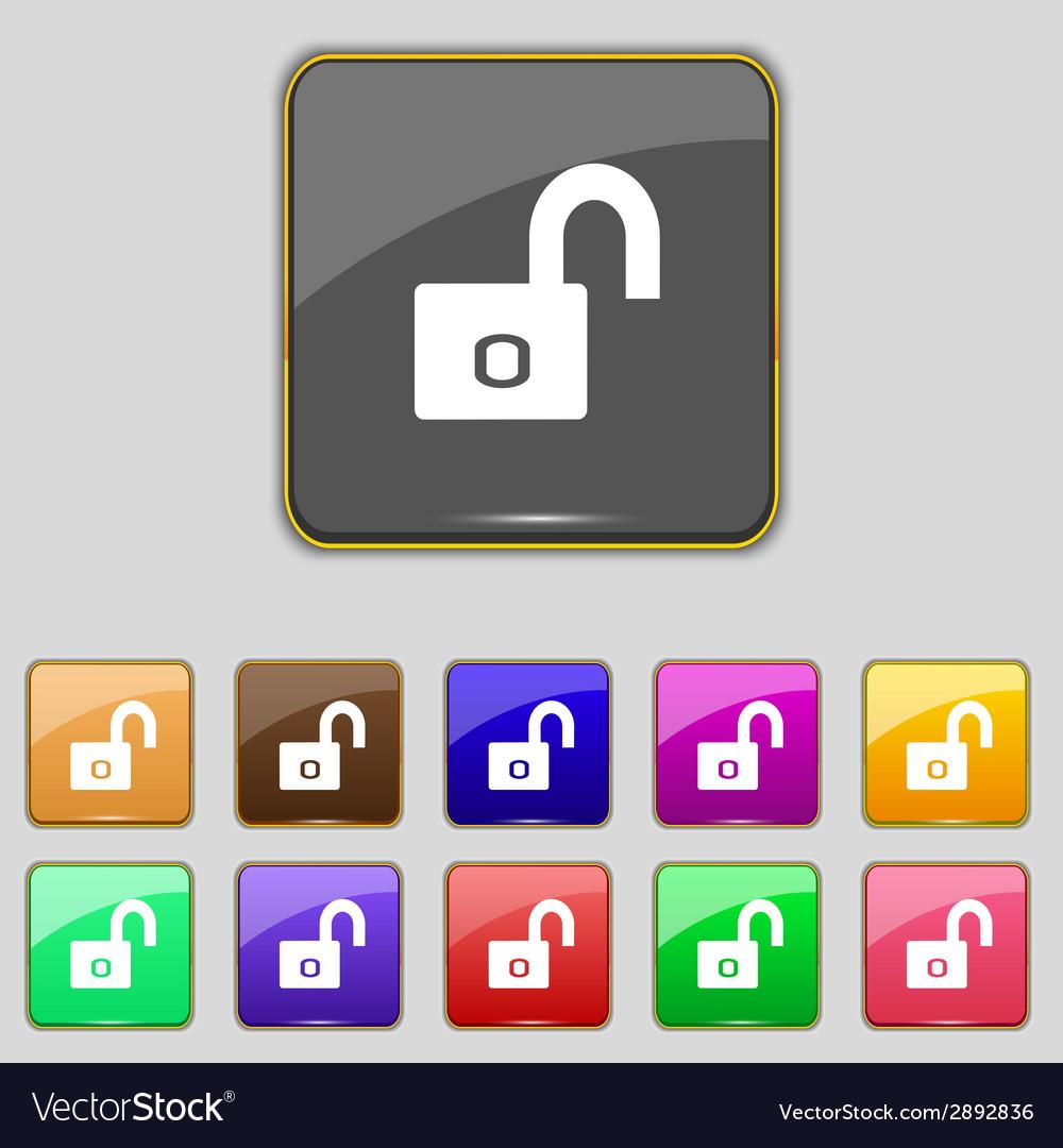 Lock sign icon locker symbol set colur buttons vector   Price: 1 Credit (USD $1)