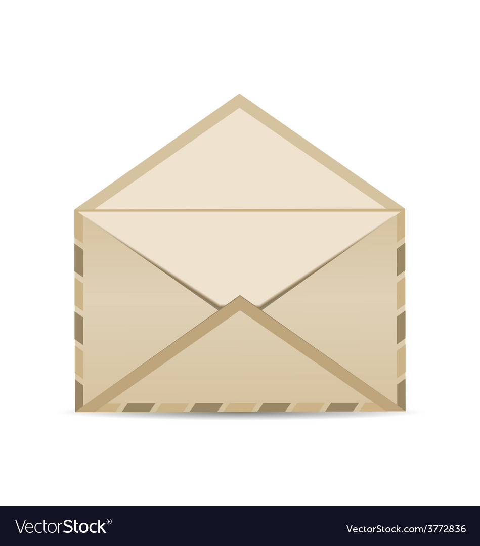 Open retro envelope with shadow isolated on white vector | Price: 1 Credit (USD $1)