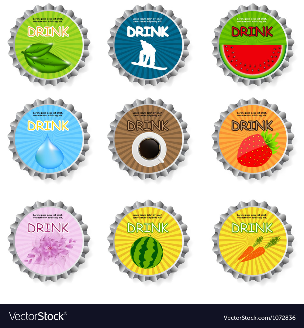 Set of bottle caps vector | Price: 1 Credit (USD $1)