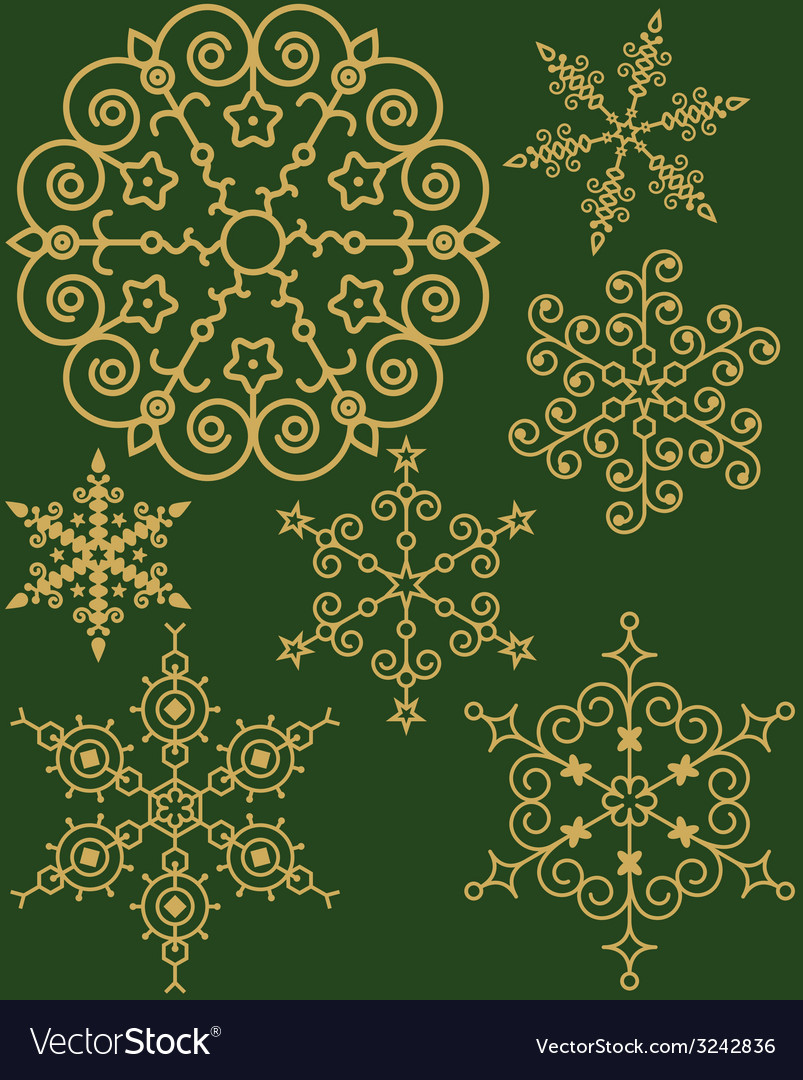 Set of snowflake vector | Price: 1 Credit (USD $1)