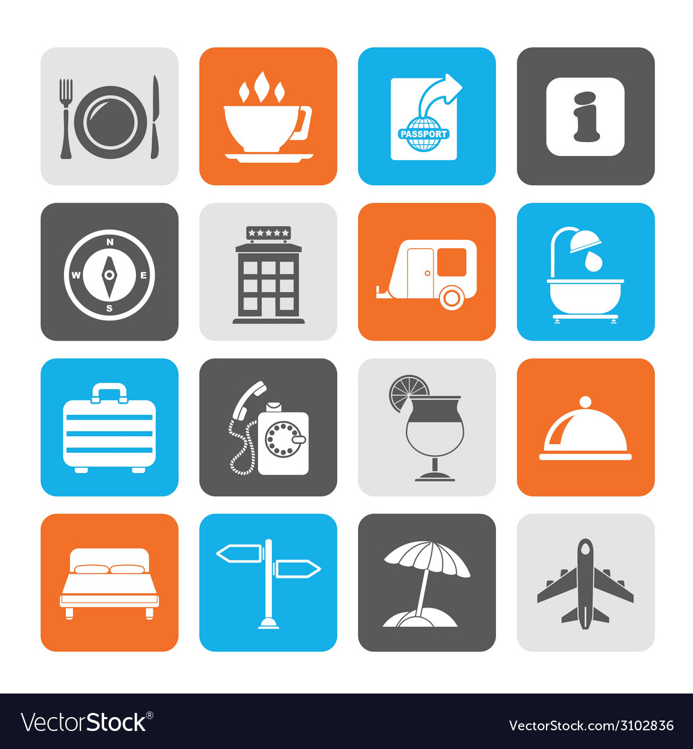 Silhouette traveling and vacation icons vector | Price: 1 Credit (USD $1)