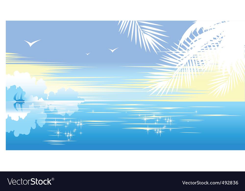 Tropical seascape vector | Price: 1 Credit (USD $1)
