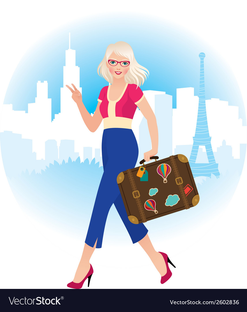 Young blonde girl traveling in france vector | Price: 1 Credit (USD $1)