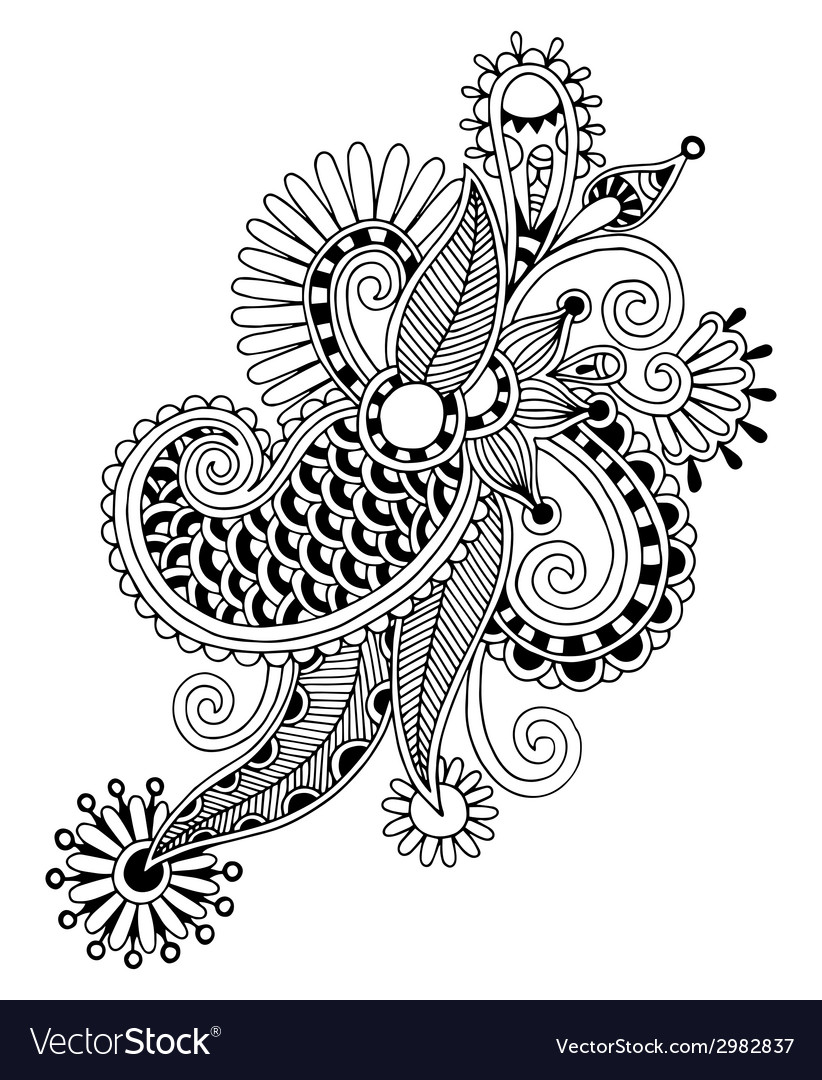 Black line art ornate flower design ukrainian vector   Price: 1 Credit (USD $1)