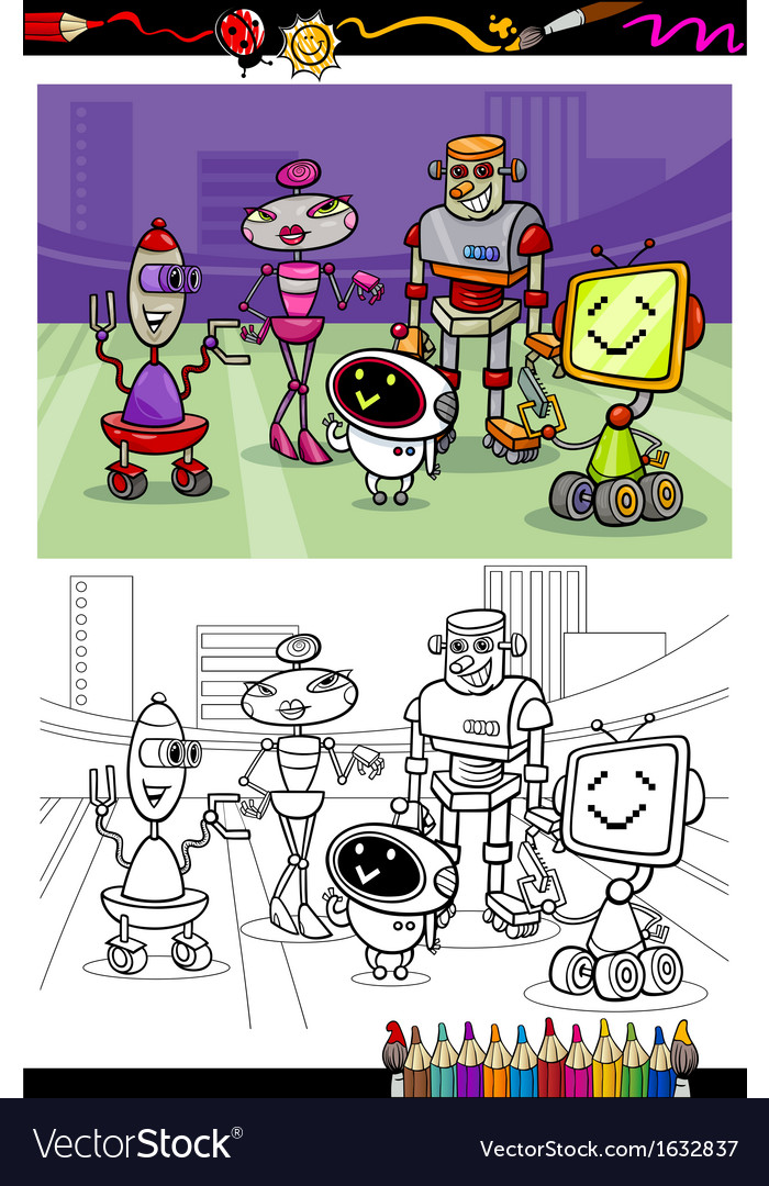 Cartoon robots group coloring book vector | Price: 1 Credit (USD $1)