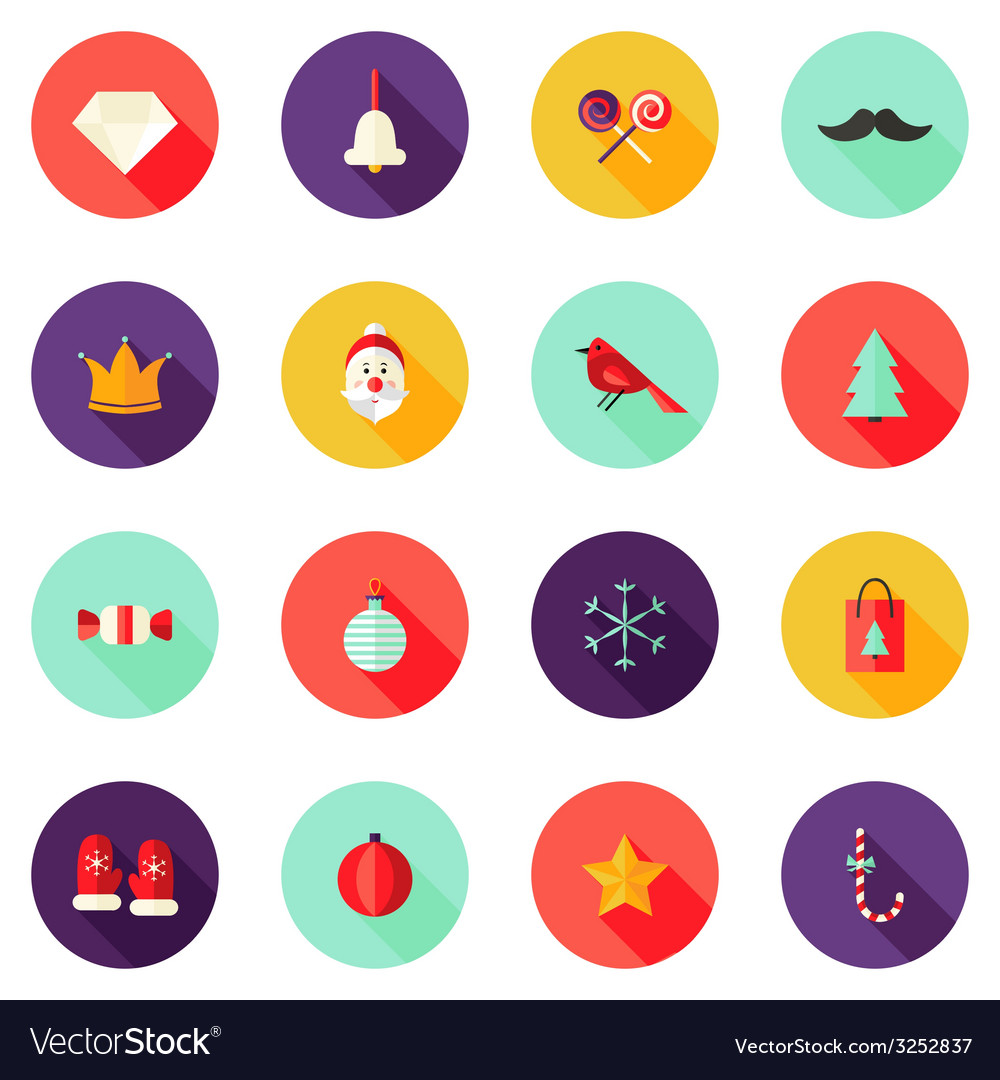 Christmas circle flat icons set 1 vector | Price: 1 Credit (USD $1)