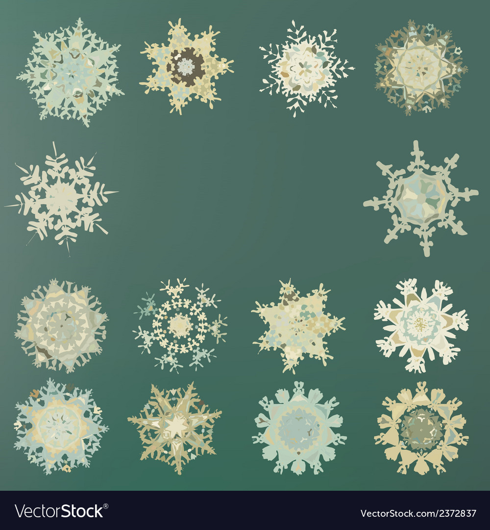 Cute retro snowflakes eps 8 vector | Price: 1 Credit (USD $1)