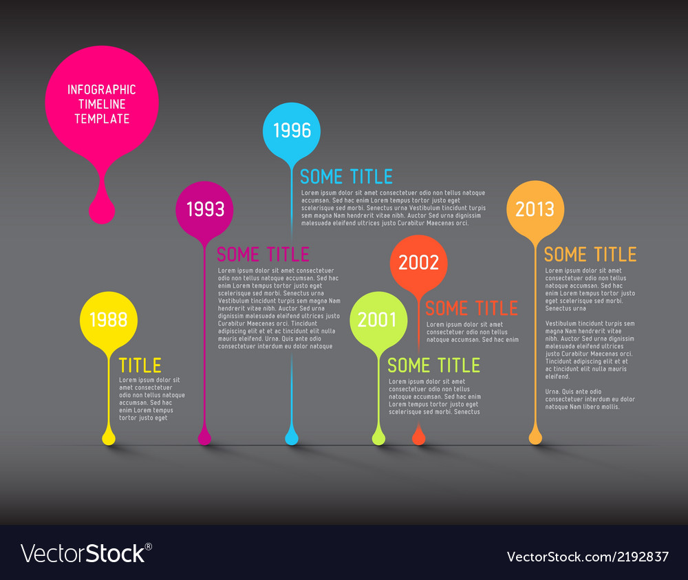 Dark infographic timeline report template with vector | Price: 1 Credit (USD $1)