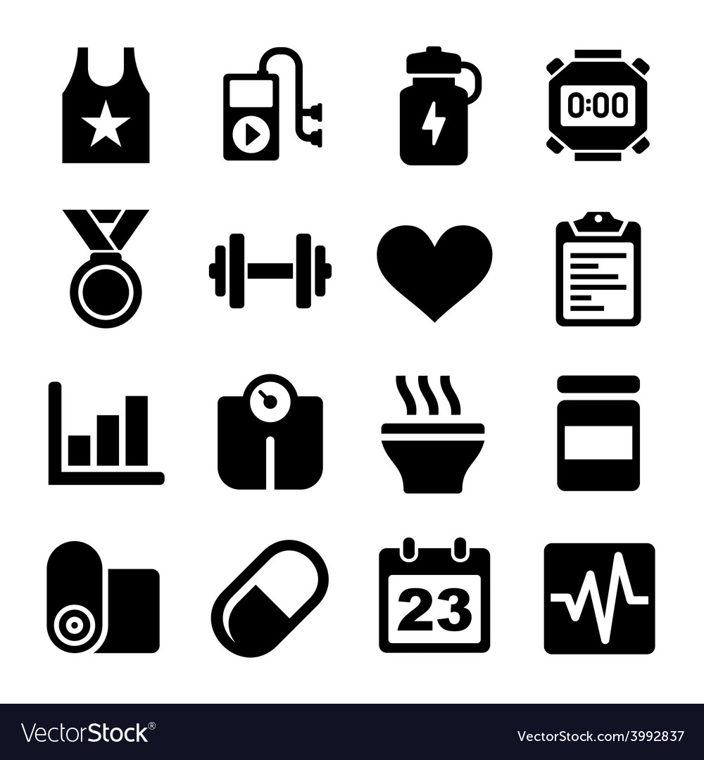 Fitness and health icons set vector | Price: 1 Credit (USD $1)