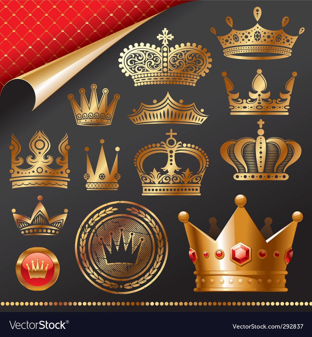 Golden royal crowns vector | Price: 3 Credit (USD $3)