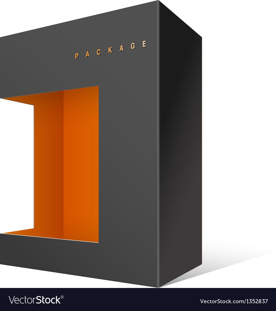 Modern realistic black package cardboard box vector | Price: 1 Credit (USD $1)