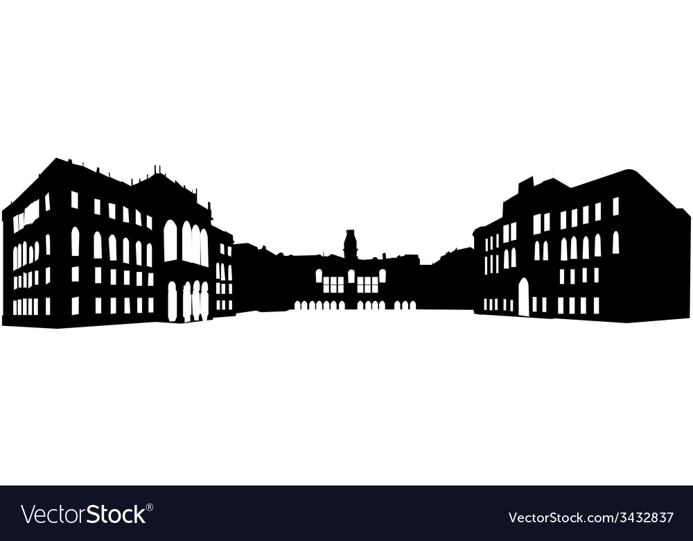 Panoramic old building vector | Price: 1 Credit (USD $1)