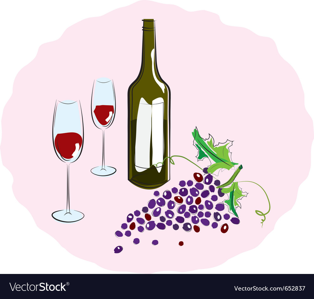 Red wine with a glass sketch vector