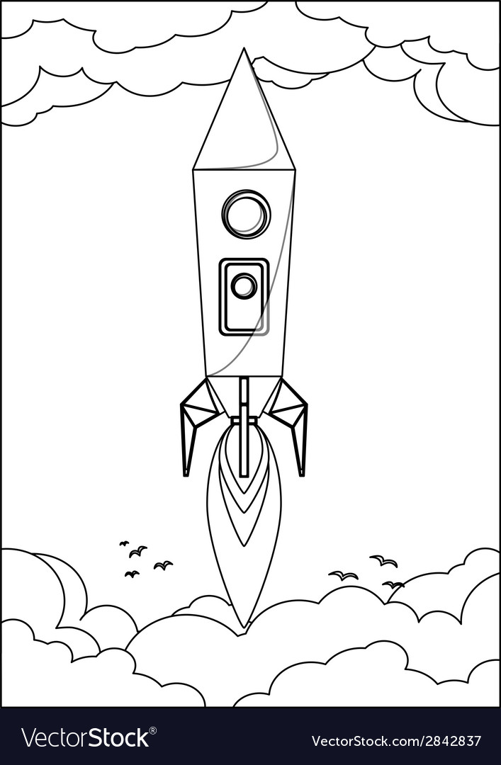 Rocket flying into space through the sky with vector | Price: 1 Credit (USD $1)