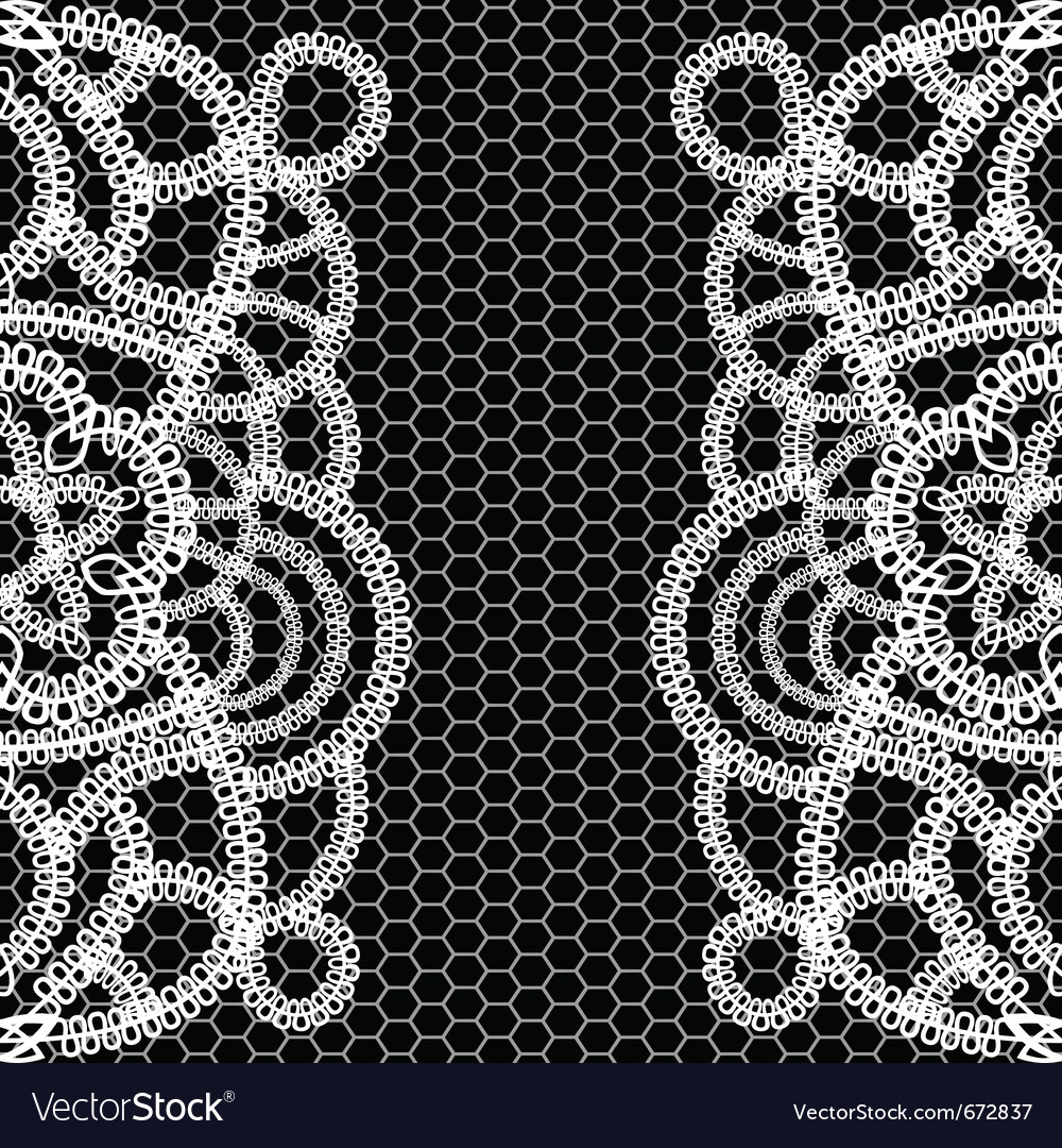 Seamless black background with white lace vector | Price: 1 Credit (USD $1)