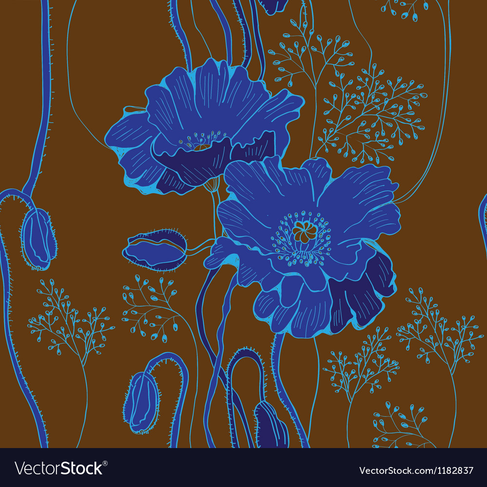 Seamless blue floral background vector | Price: 1 Credit (USD $1)