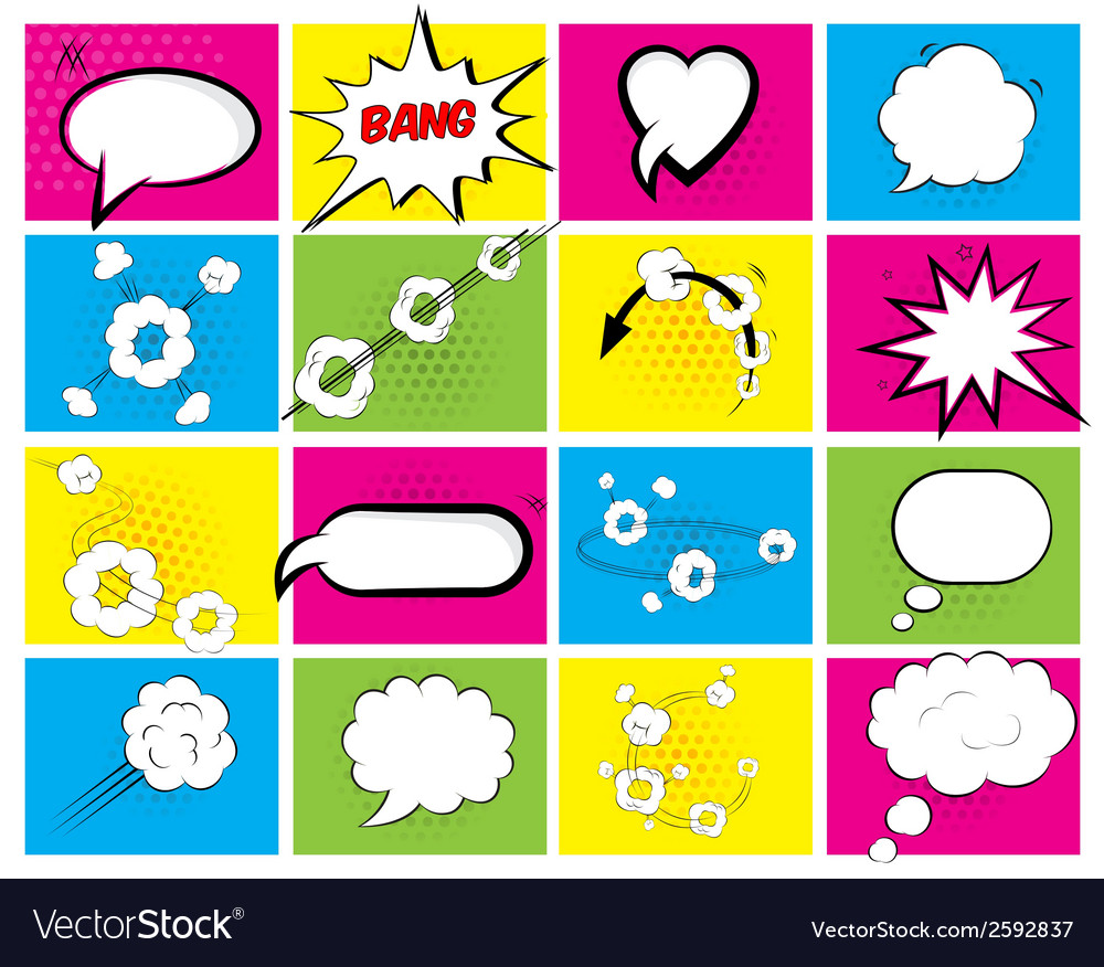 Set of brightly colored speech bubbles vector | Price: 1 Credit (USD $1)