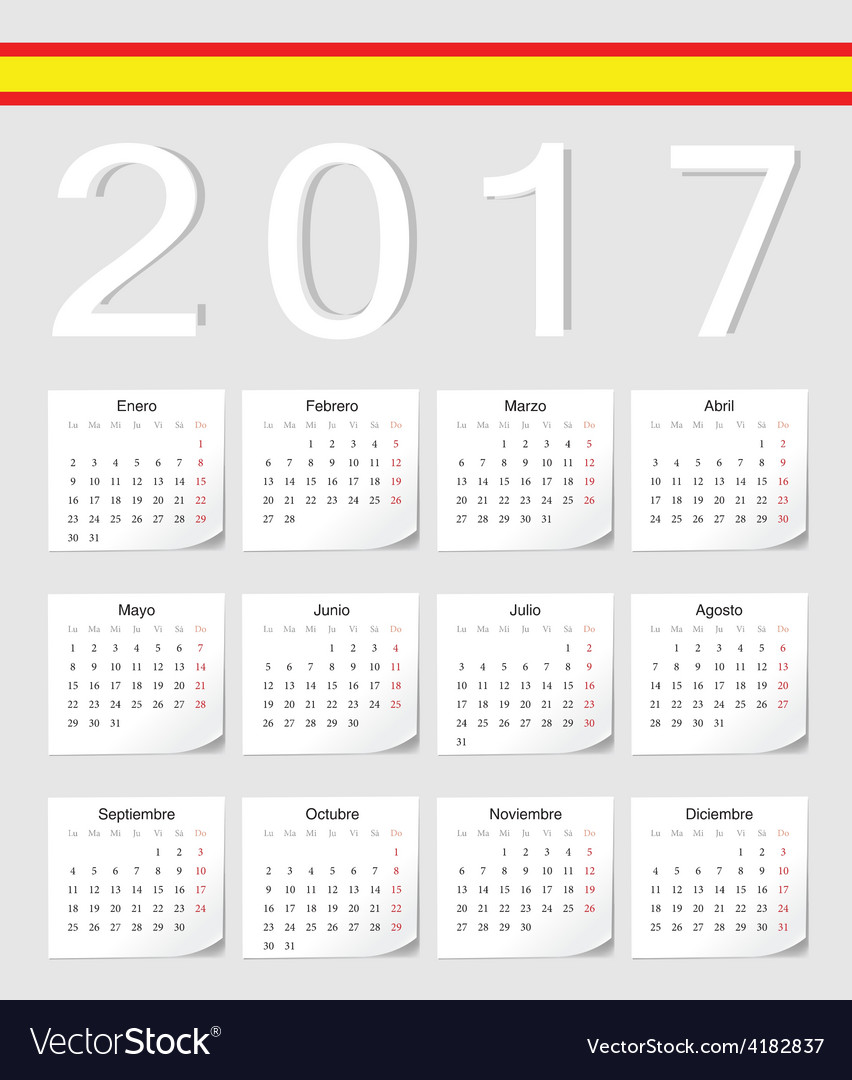 Spanish 2017 calendar with shadow angles vector | Price: 1 Credit (USD $1)