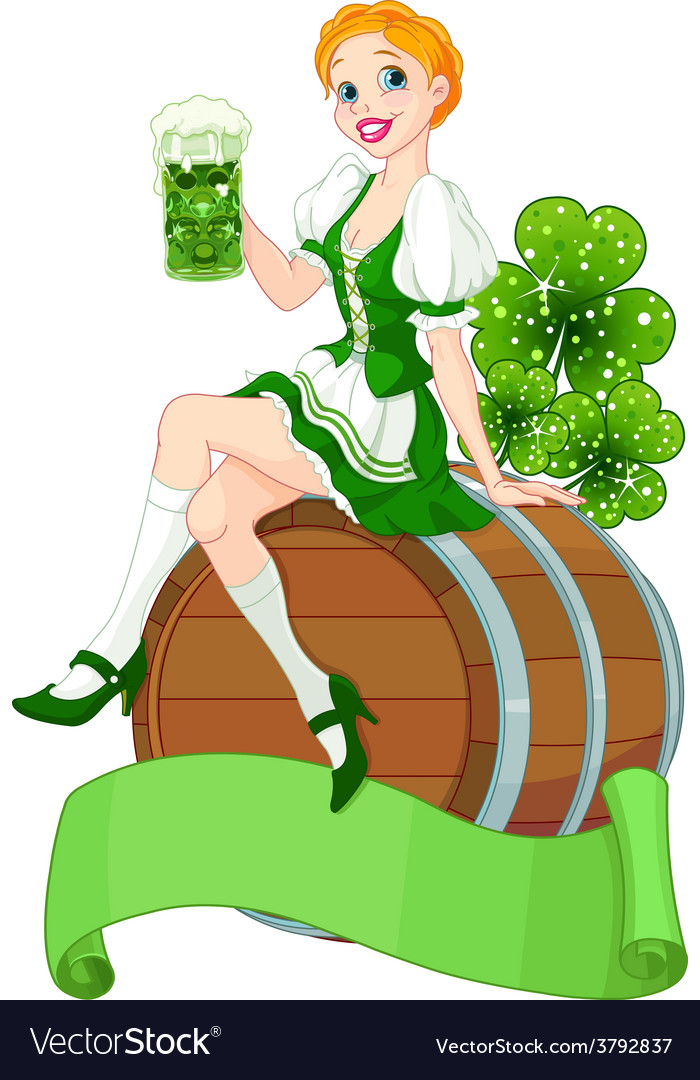 St patrick day girl on the keg vector | Price: 3 Credit (USD $3)