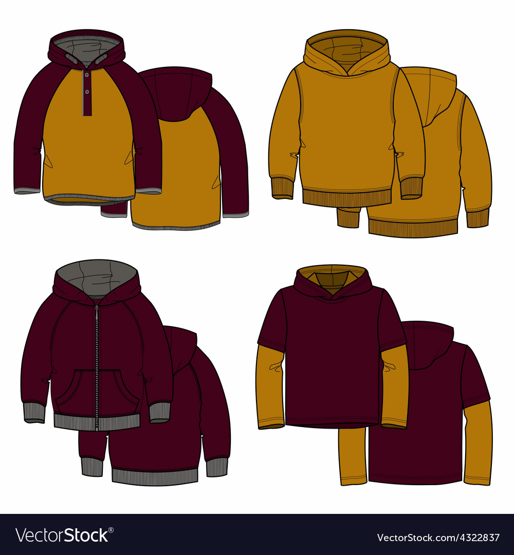 Vinous and mustard hoodies vector | Price: 1 Credit (USD $1)
