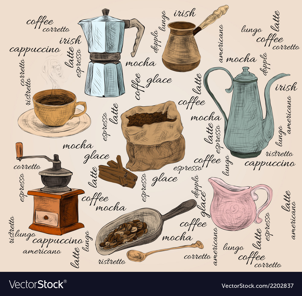Vintage coffee handdrawn set vector | Price: 1 Credit (USD $1)