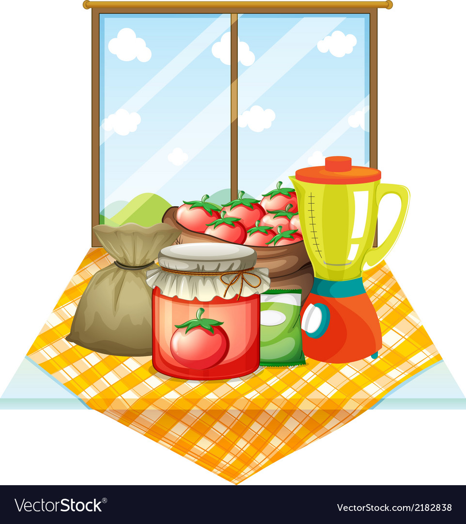 A table with foods near the window vector | Price: 1 Credit (USD $1)