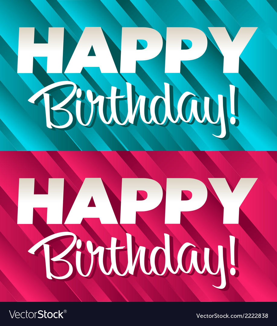 Blue and pink birthday banners vector | Price: 1 Credit (USD $1)
