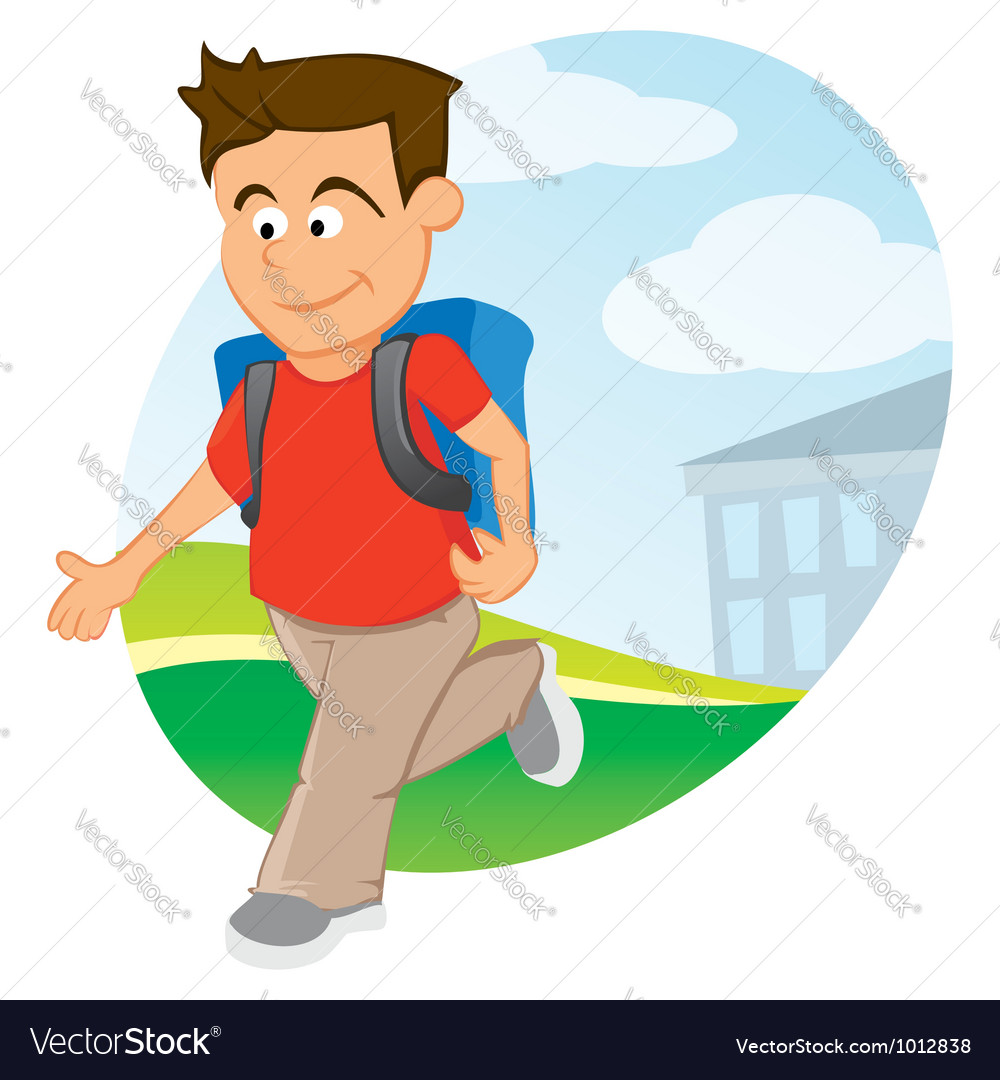 Boy with backpack vector | Price: 1 Credit (USD $1)