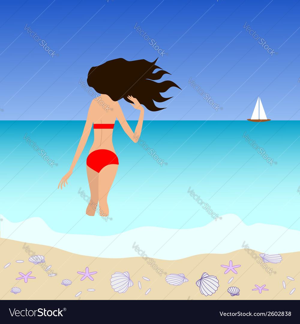 Brunette woman standing at tropic seashore vector | Price: 1 Credit (USD $1)