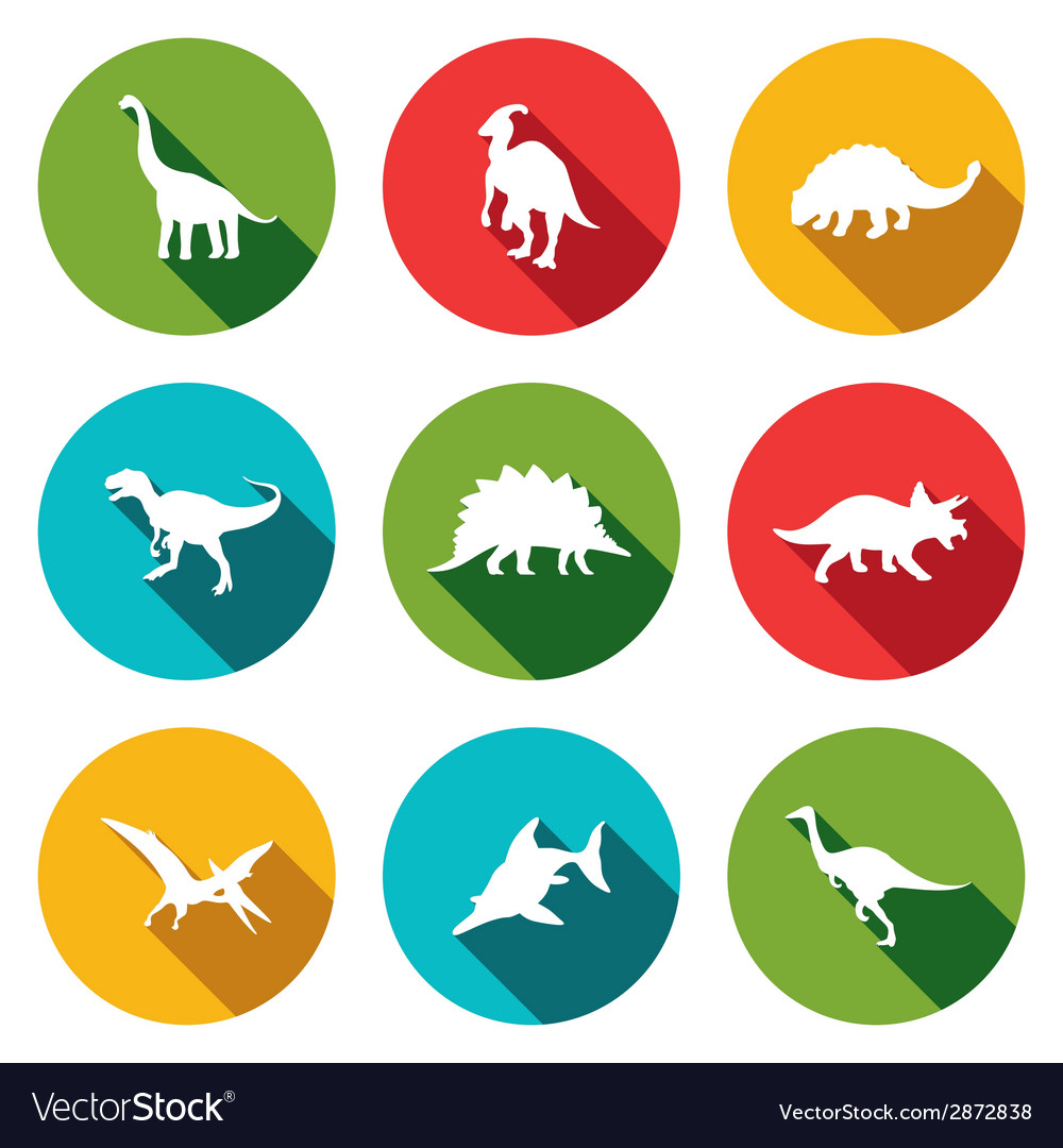 Dinosaurs flat icons set vector | Price: 1 Credit (USD $1)