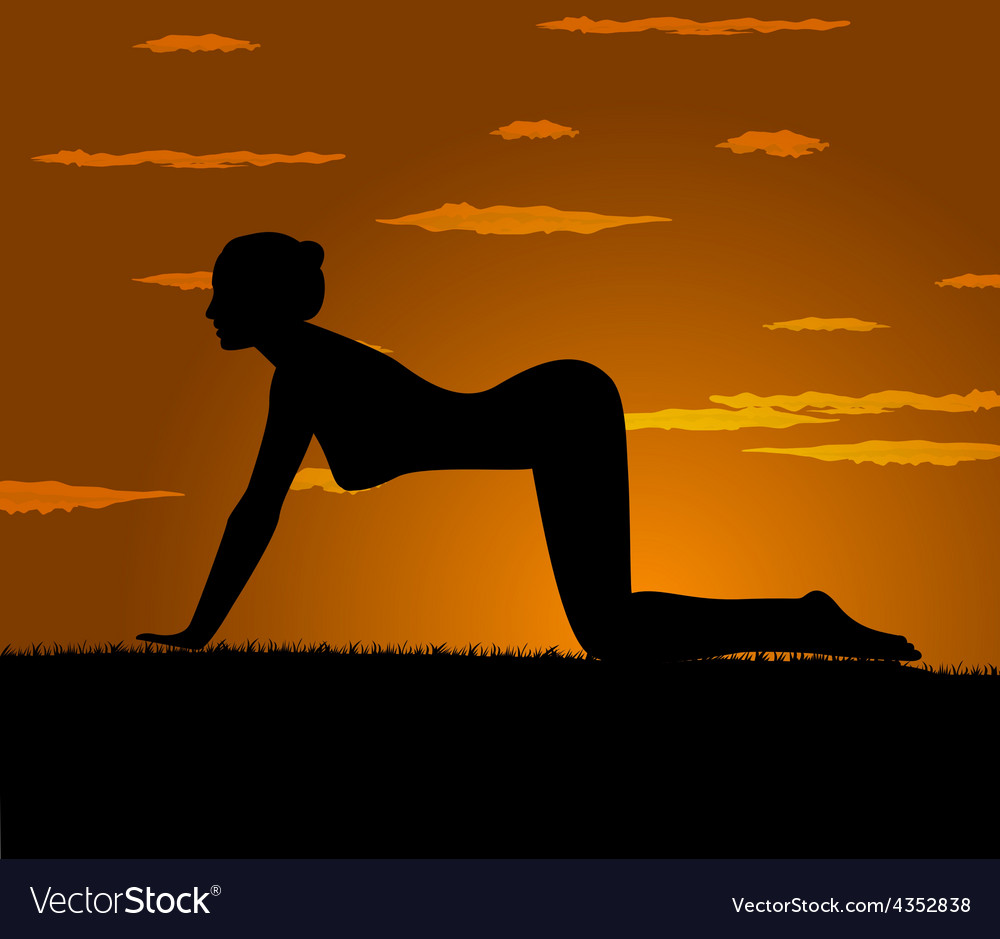 Girl makes yoga exercise at the gloaming vector | Price: 1 Credit (USD $1)