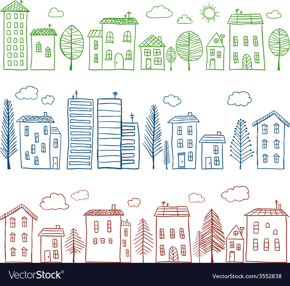Houses doodles seamless pattern vector | Price: 1 Credit (USD $1)