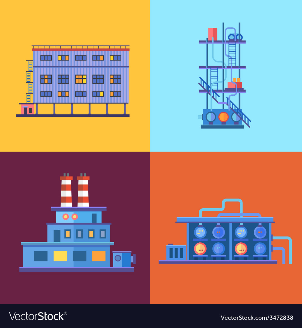Industrial factory buildings icons set in flat vector | Price: 1 Credit (USD $1)