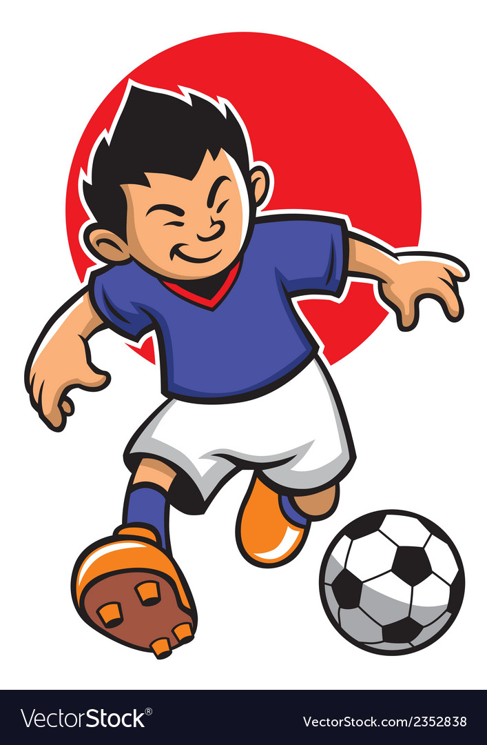 Japan soccer player with japan flag background vector | Price: 1 Credit (USD $1)
