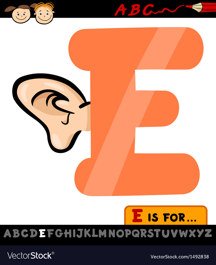 Letter e with ear cartoon vector | Price: 1 Credit (USD $1)