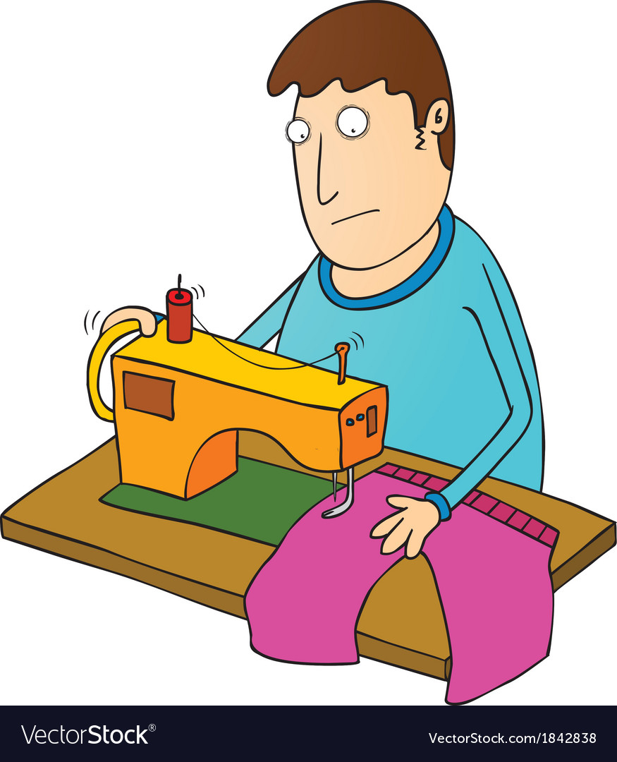 Man sewing vector | Price: 1 Credit (USD $1)