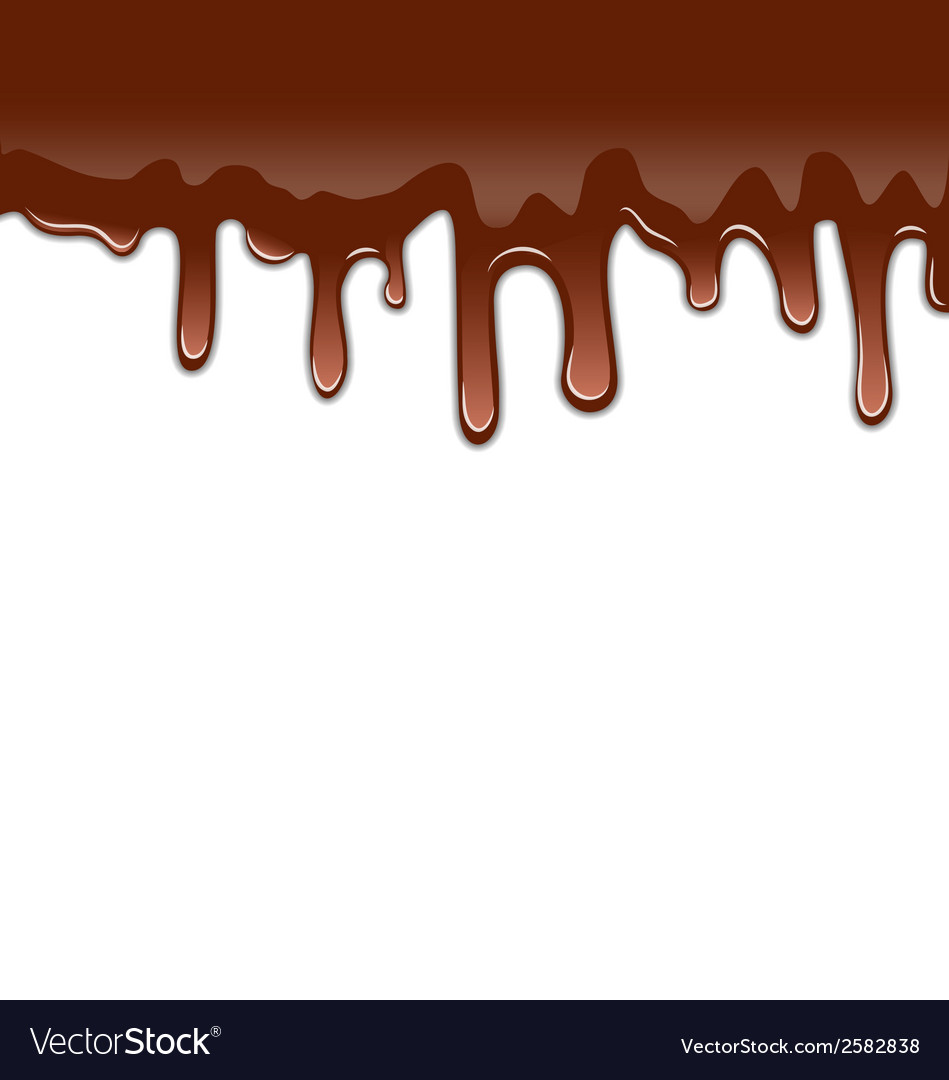 Melted chocolate syrupy drips isolated on white vector