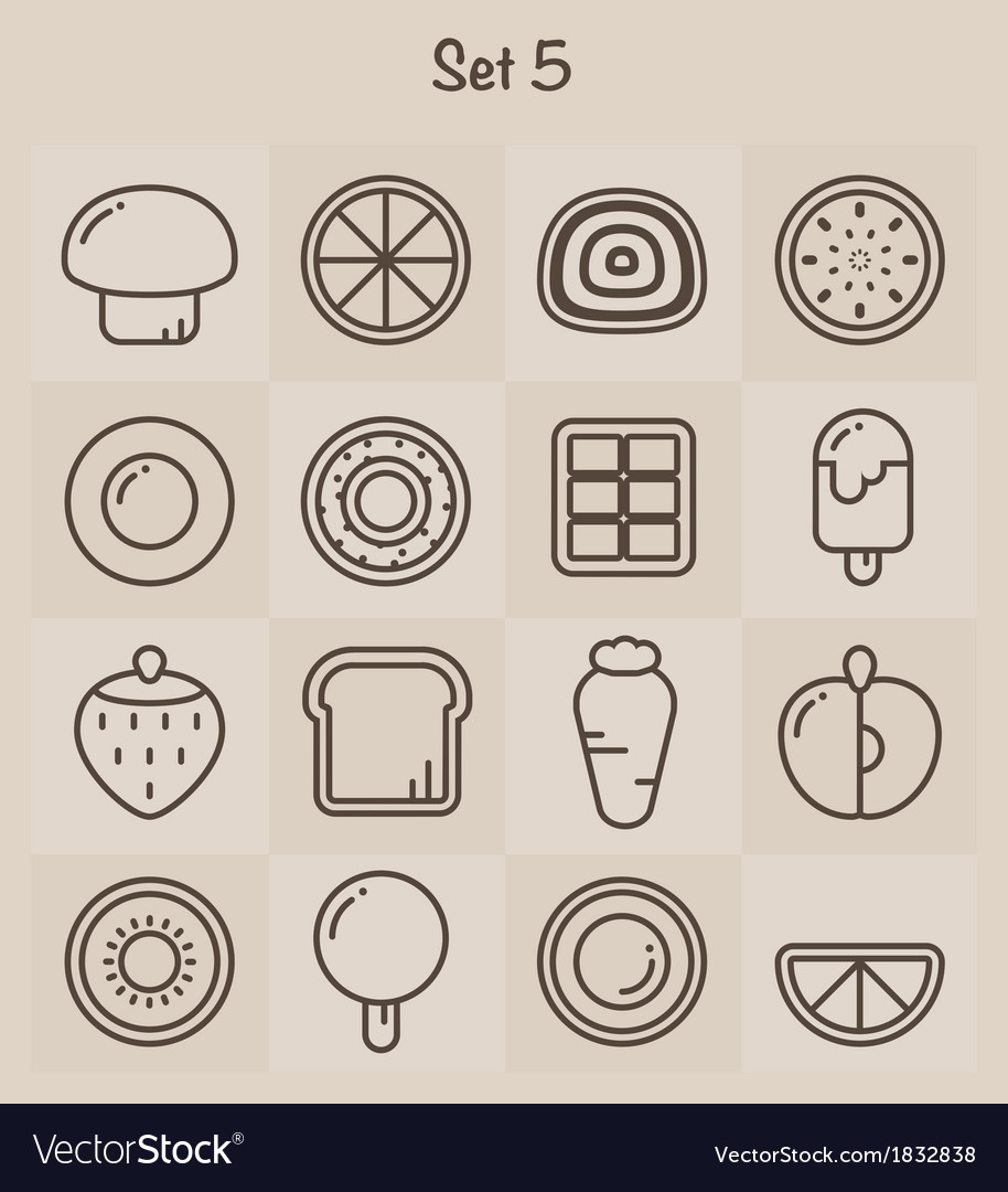 Outline icons set 5 vector | Price: 1 Credit (USD $1)
